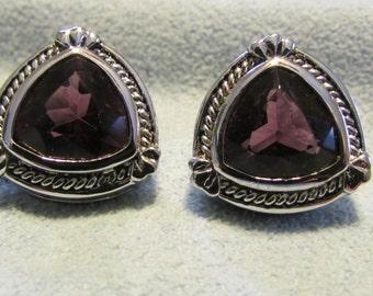 Earrings, February Birthstone, Purple Triangle Stones, Silver setting, Pierced Earrings ~ BreezyTownship.etsy.com -- ER007