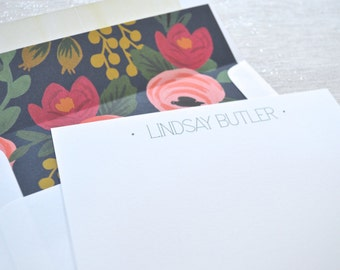 Personalized stationery flat notecards with floral envelope liners