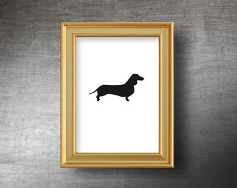 Dachshund Wall Art 5x7 - UNFRAMED Hand Cut Dachshund Silhouette Portrait - Personalized Name or Text Optional