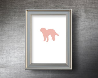 Labradoodle Print 5x7 - UNFRAMED Hand Cut Labradoodle Silhouette - 4 Color Choices - Personalized Name or Text Optional