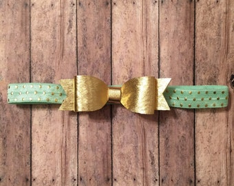 Gold Bow Mint Dot Headband