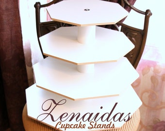 White Melamine Cupcake Stand 65 Cupcakes 4 Tier Octagon Cupcake Tower Display Stand Birthday Stand DIY Project