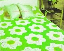 CROCHET PATTERN - Golden Hexagon Flower Bedspread - Blanket - PDF Instant Download - Afghan - Motif Comforter - Garden - Blanket Cover - Vtg