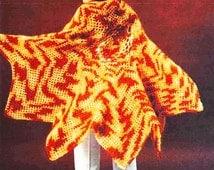 Crochet Poncho Pattern - PDF Instant Download - Crochet Shawl Wrap - Afghan Blanket Cloak Cape - Digital Pattern - Hooded Poncho Afghan Wrap