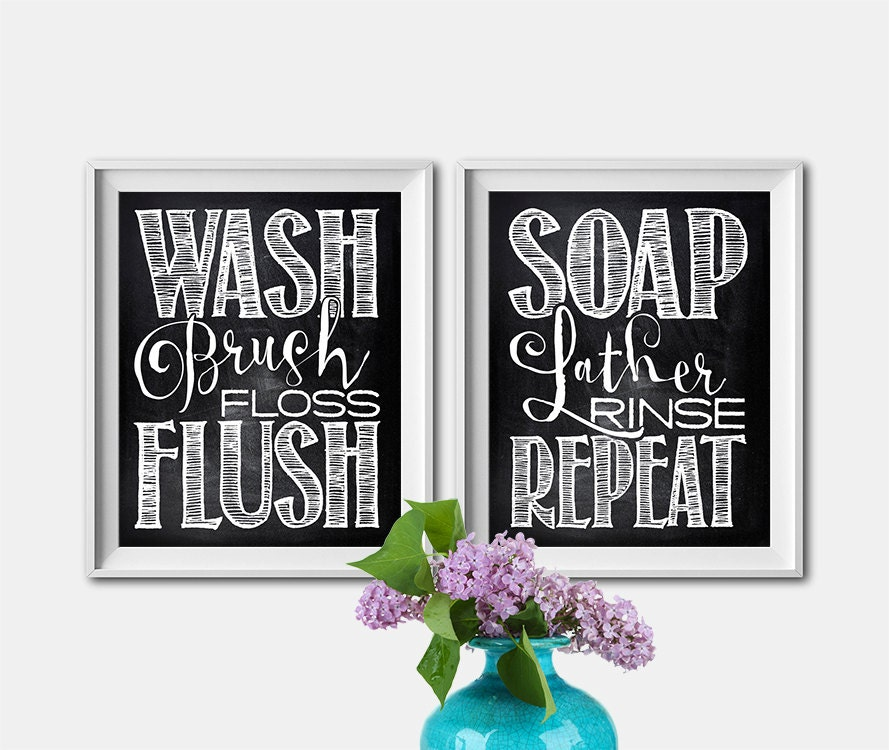 Set Of 2 8X10 Or 11X14 Art Prints Bathroom By ThePrintAnnex
