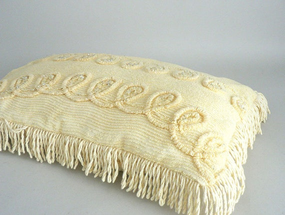 Decorative Pillows With Fringe : Yellow Chenille Decorative Throw Pillow With Fringe