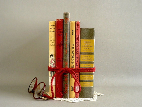 Decorative display vintage books by longsince on etsy - Decorative books for display ...
