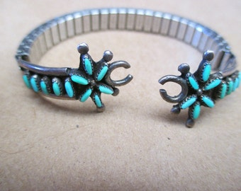CHILDS WATCH Band Zuni Indian Made Sterling Needlepoint Turquoise Stones
