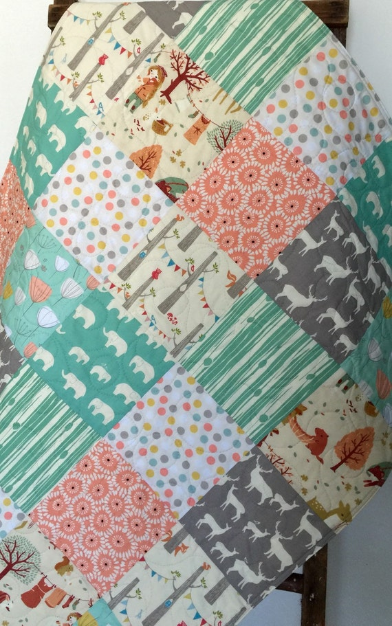 Baby Girl Quilt Elephant Deer Elk Mint Coral Yellow