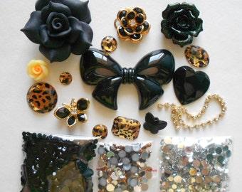 Sale -- DIY 3D Big Black Bow Bling Bling  Kawaii Resin Flatback Decoden Cabochons Cell Phone Case Deco Kit