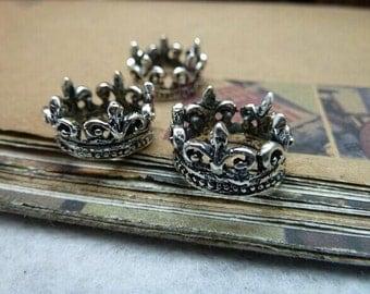 10pcs 16x16x10mm 3D Antique Silver Crown Charms Pendant,Antique Silver Crown Charms Connectors