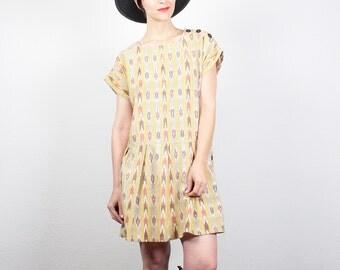 Vintage 1990s Dress Southwestern Striped Print Mini Dress 90s Dress Soft Grunge Dress Babydoll Dress Drop Waist Hipster Dress S M Medium L