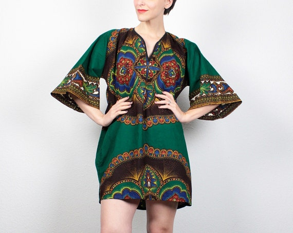 Vintage Dashiki Dress 1970s Dress Hippie Dress Dark Green Ethnic Scarf Print 70s Dress Boho Festival Kimono Sleeve Sundress L XL Extra Large