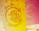 I love you to the moon and back, A6 Valentine's Day Card for Charity.