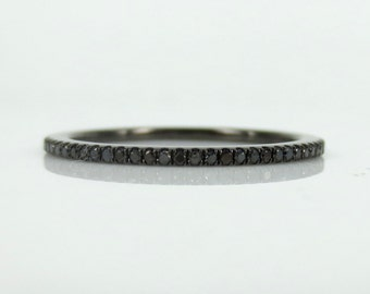 Micro Pave 0.20ct  Black Diamond Eternity Band set in 18k Gold