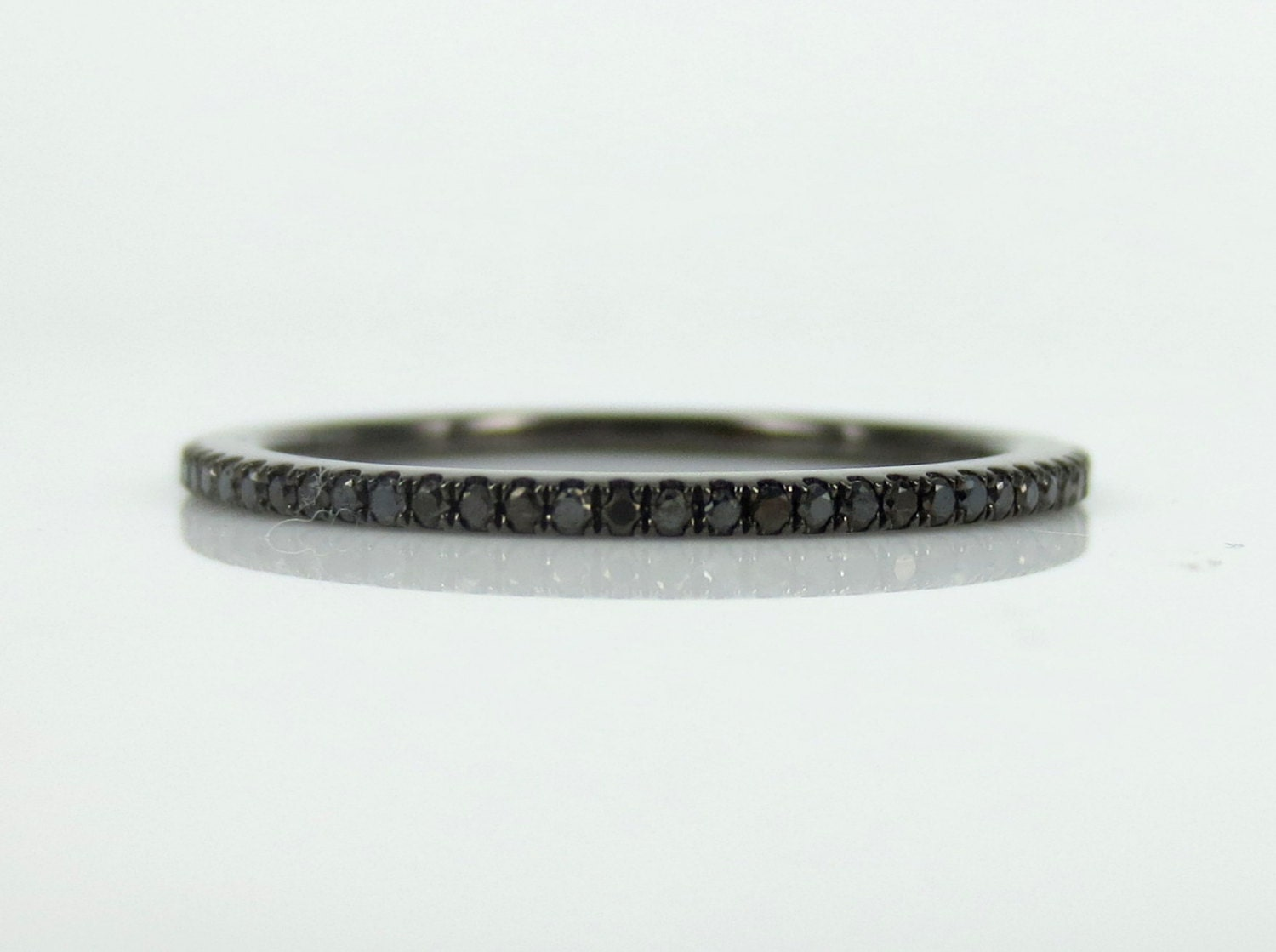 Micro pave 0 20ct black diamond eternity band by zinafinejewelry
