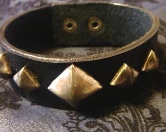 Men's Leather Bracelet Bronze Studs