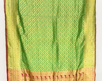 Heavy Zari Brocade Pure Silk Saree Floral Green Fabric Vintage Indian Sari  TP2609