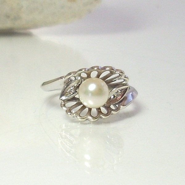 Vintage Cultured Pearl Engagement Ring With Diamonds 14K White