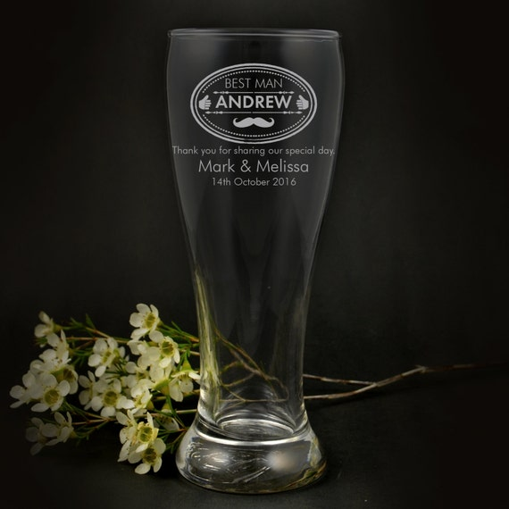 Engraved Wedding Beer Glasses : Engraved Wedding 425ml Beer Glass Bridal Party Gift Favour