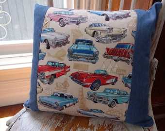 Dan Morris Get Your Kicks Route 66 Classic Cars cushion cover/pillow with denim border and red and white gingham backing 45cm