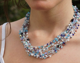 Blue, hand-made, crocheted, beaded necklace. stunning, silver strand, elegant,blue, white and black beads, Free shipping