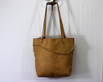 Leather Oversize Tote Bag Blonde Soft Handmade Overnight Women's Purse.
