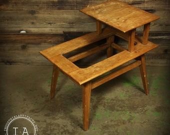 Vintage Mid Century Modern Two Tier Coffee End Table