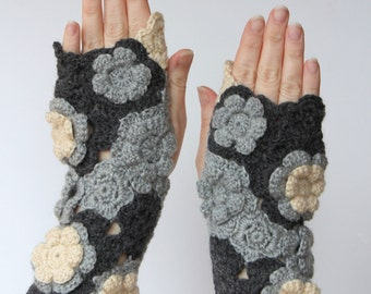 Crochet  Fingerless Gloves, Clothing and Accessories, Gloves & Mittens,Gift Ideas,For Her, Grey,