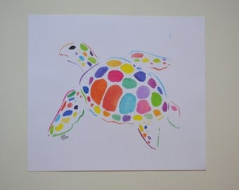Watercolor turtle painting (no frame)