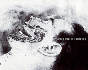 Post mortem - A death portrait. Fine art print of an original drawing. Signed by the artist.