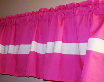 PINK COLOR BLOCK Valance. Window Curtain, Girls Valance, baby's, bedroom curtain, Bathroom curtain, anywhere you want. Great gift idea