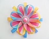 Rainbow Hair Bow, Pastel Rainbow Hair Clip, Rainbow Flower Hair Bow, Rainbow Hair Clip, Photo Prop for Girls, Rainbow Wedding Bow, Birthday