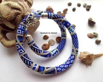 "Bead Crochet Necklace ""Santorini"" blue,cobalt,white,silver,stylish,lightweight,evening,minimalism,geometry,made to order"