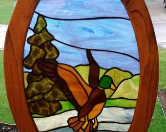 SALE!  Wildlife stained glass window.  Mallard Duck. Gifts for Him