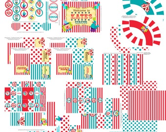 CIRCUS CARNIVAL birthday party huge package, birthday banner, polka dot stripes, clown, elephant, tent, tip top, lion, circus, carnival