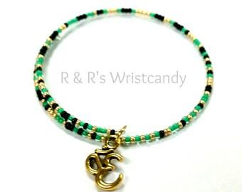 Memory Wire Bracelet, Ohm Beaded Bracelet, Stacking Bracelet, Yoga bracelet, Women's Bracelet, Women's Jewelry