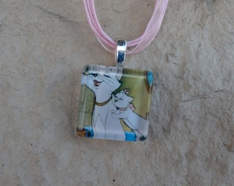 Disney Animals Collection Duchess and Marie from Disney's Aristocats Glass Tile Pendant and Ribbon Necklace