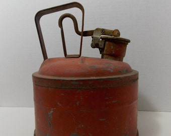 Metal Safety Gas Can, One Gallon, Underwriters Labratories Inc Listed, Safety Can, vintage Metal gas can, Railroad gas can