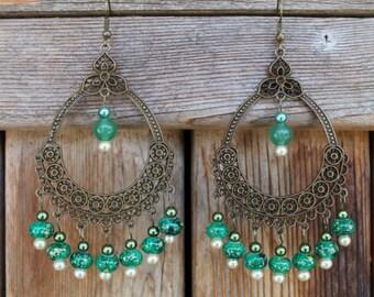 Antique Gold Boho Earrings: GWENDOLYN