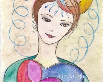 Creative woman original watercolor - Original art- 9 x 5,30 inches - mother day gift- idea for mum