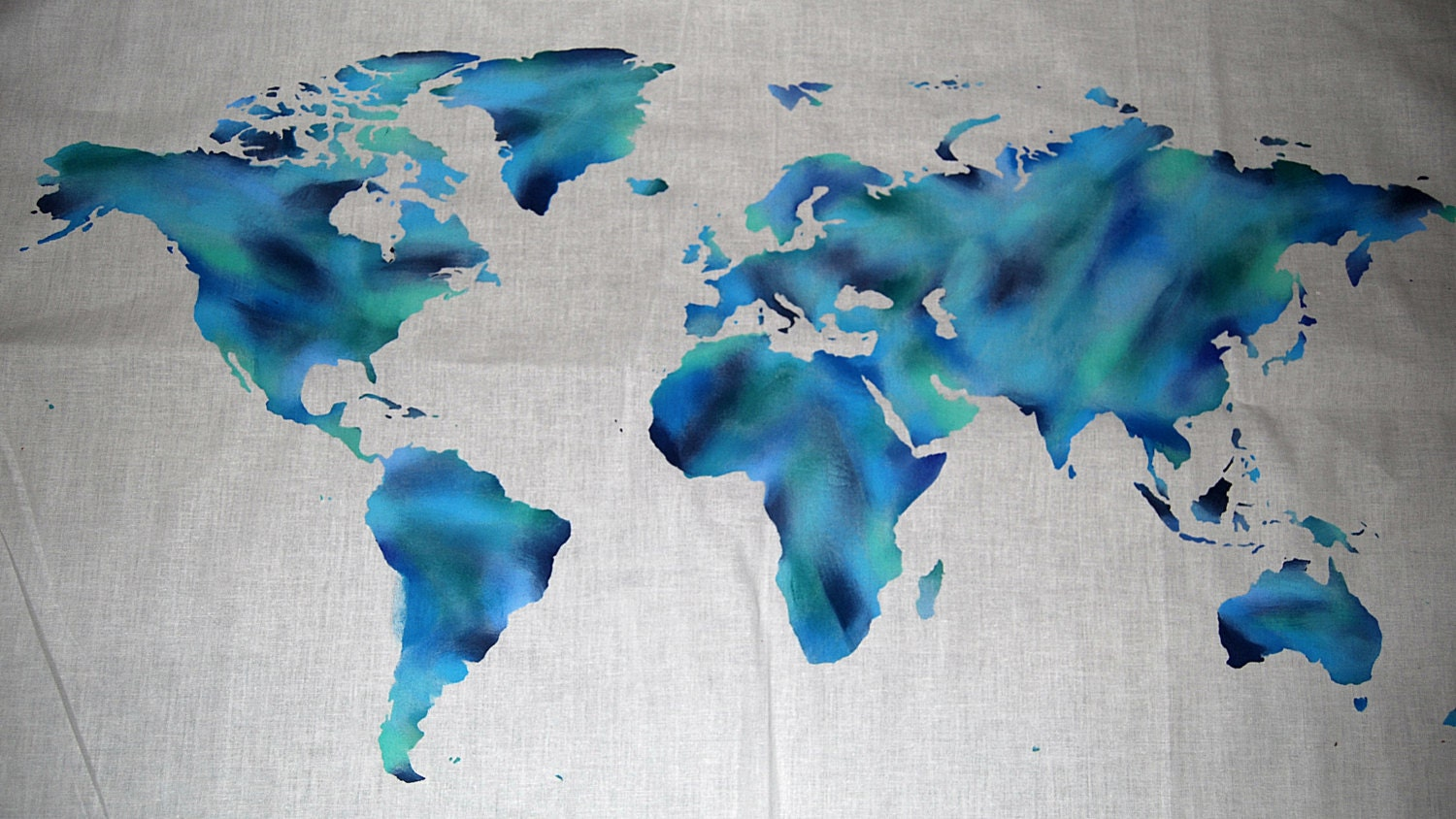 World Map Wall Tapestry Shades of Blues Brush Stroke Water