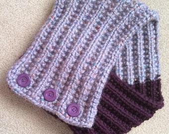 Hand Knit Cowl With Large Button closure