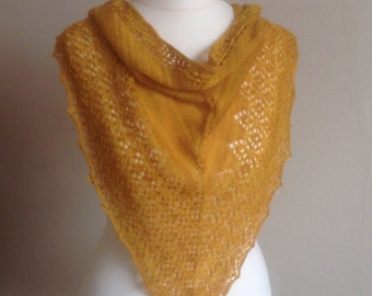 Hand Knitted Lace Triangle Scarf, Shawl