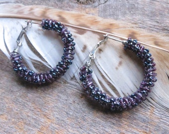 Purple bead hoops beaded hoop earrings gypsy hoop earrings purple hoops