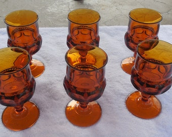 "Vintage Retro Anchor Hocking Glassware Set of Six Brown Orange Glasses 5 1/2"" x 2 1/2"""