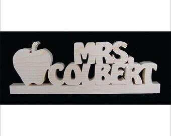 Apple  2 custom words Desk Sitter Shelf Sitter Teachers Names natural Pine Freestanding