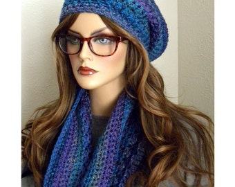 Blue Hat & Cowl Set, Winter Accessories, Blue Slouchy Beanie, Blue Cowl,Crocheted Hat set, Gifts for women