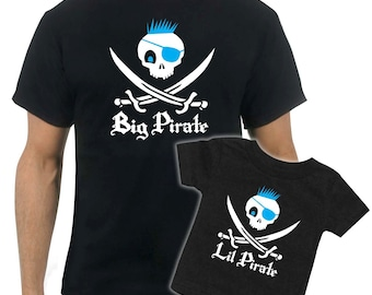 Matching Pirate Father/Son t-shirt - Jolly Roger Skull & Swords