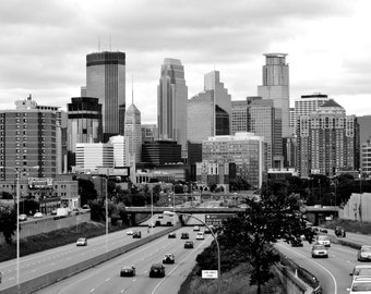 Minneapolis Skyline | Black and White | Photography Print